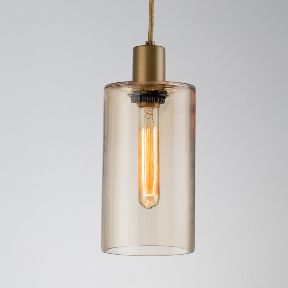 """Apothecary Pendant 10"""" LAB0041-10 in Gilded Brass and Amber Blown Glass Cylinder"""