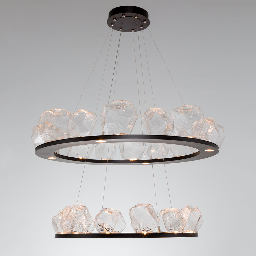 two tier bezel ring chandelier with hand blown glass gems by hammerton studio