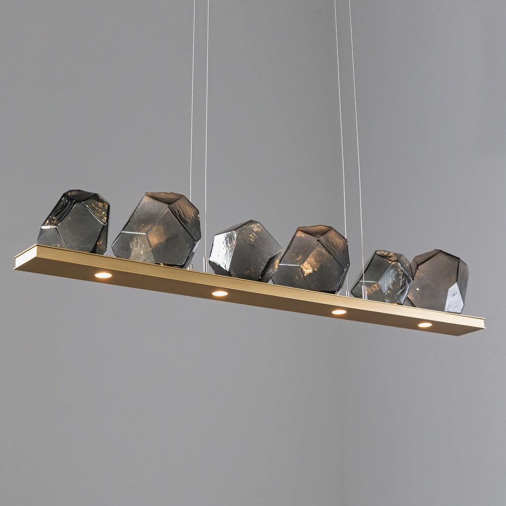 6-Gem Bezel LED Linear Suspension PLB0039-0B in Gilded Brass and Smoke Blown Glass Gem