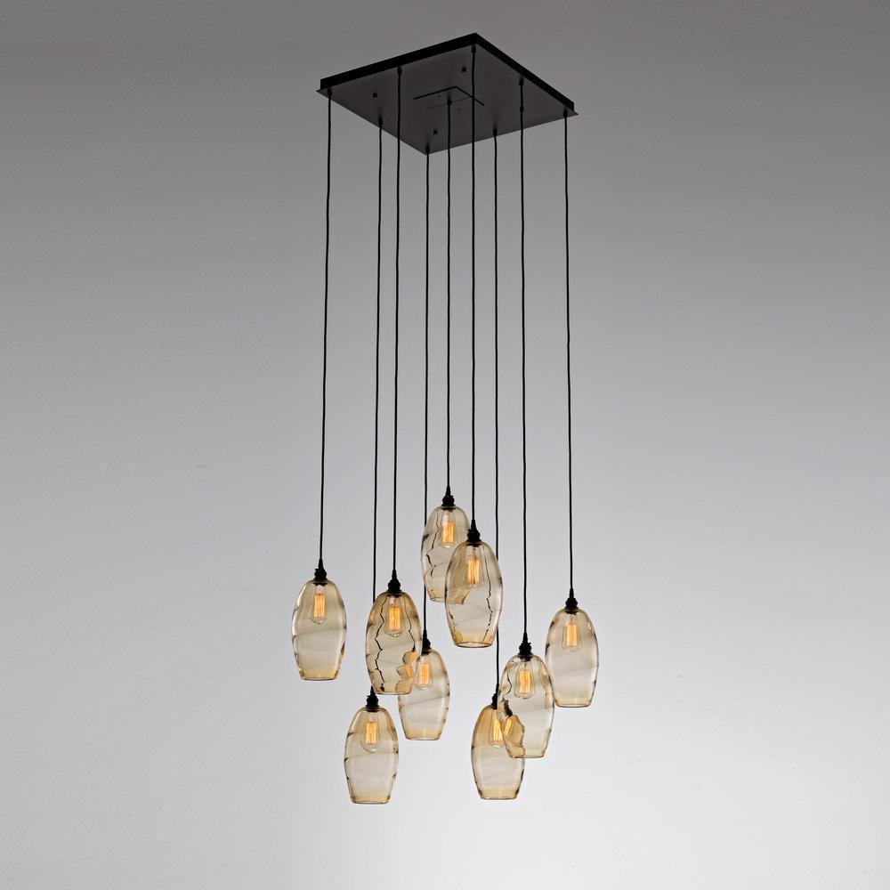 Ellisse hand blown glass multi port chandelier by