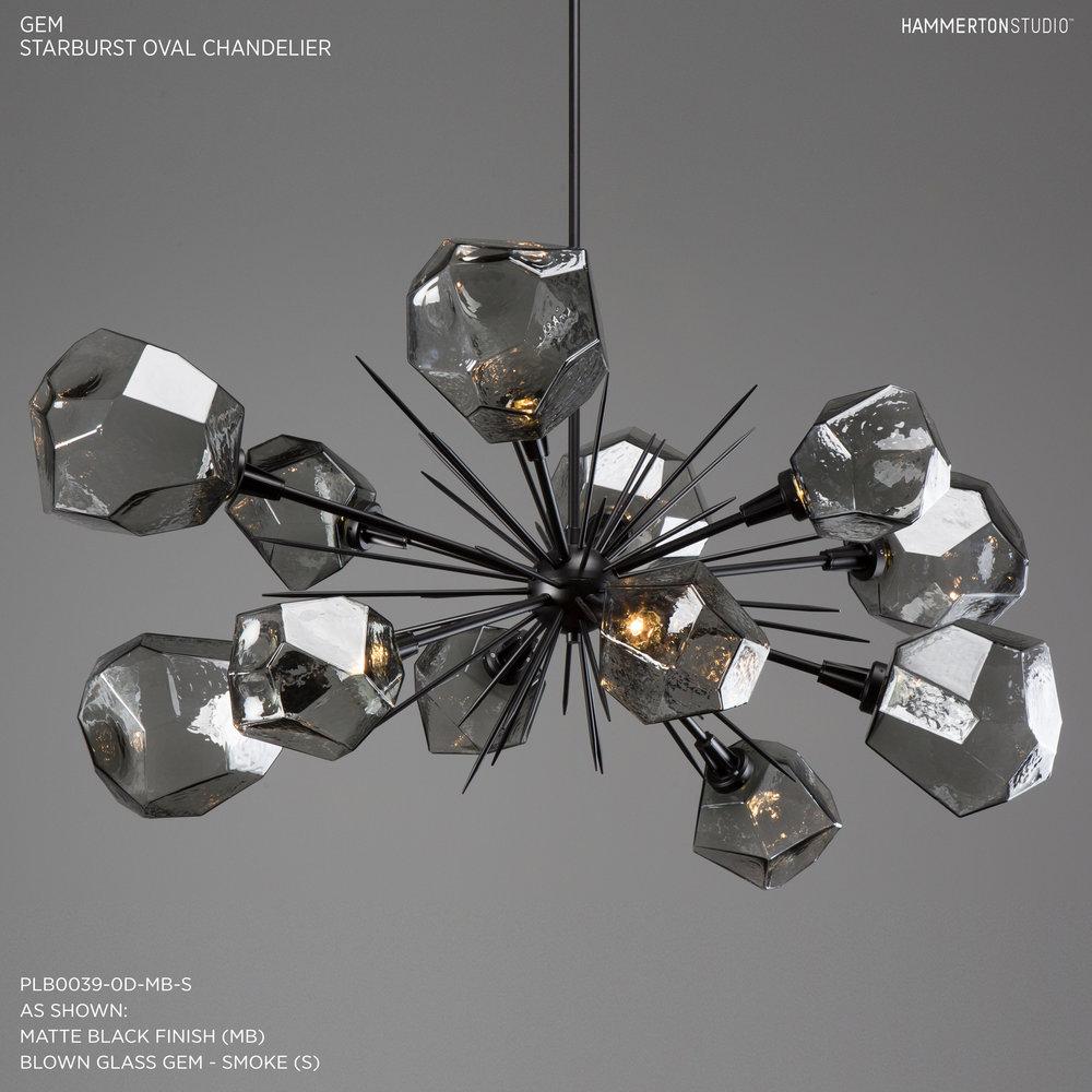 gem oval starburst chandelier plb00390d - Starburst Chandelier