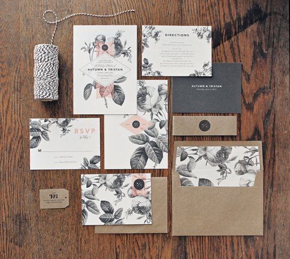 Franny alex wedding invitation design process 1b visual 2 i thinknbspthe black and white florals might come across stopboris