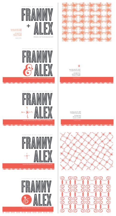 Franny alex wedding invitation design process 2 drafts 2 potential options and combinations for front and back but the same general stopboris