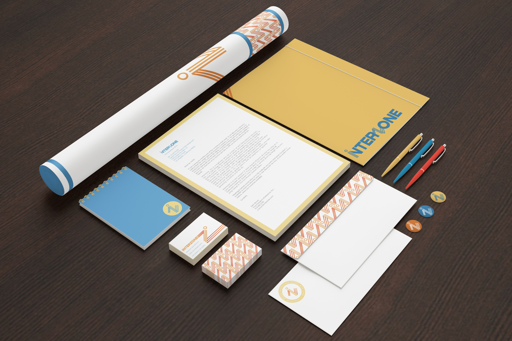 Interzone corporate identity application   Printed branding and identity application for Interzone, Inc.
