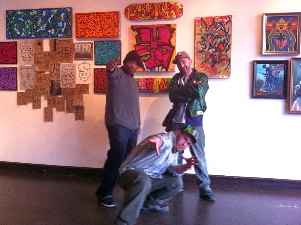 Post-installation/Pre-party Victory Stance - Brim the Intangible, Lewis, and myself