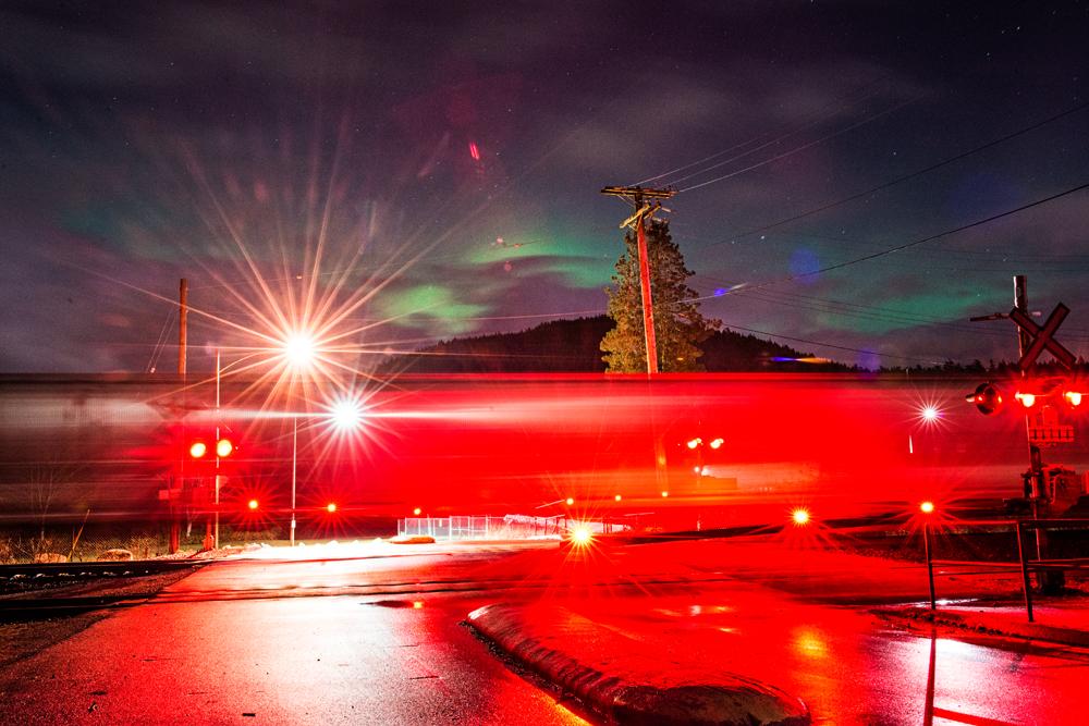 All aboard the Aurora Train. Barnet Marine Park, Burnaby.