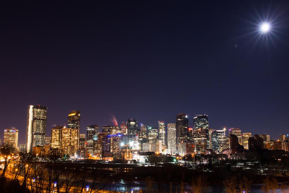 Moon over Calgary.