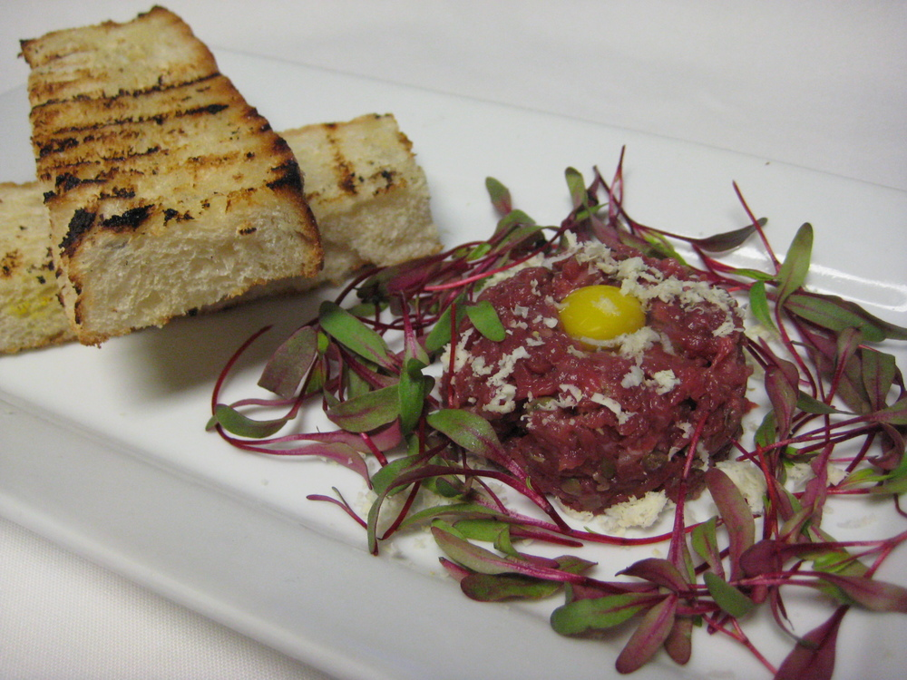 Third Course: Lamb Tartare with Egg Yolk, Fresh Horseradish, Microgreens, and Toasted Rye Bread