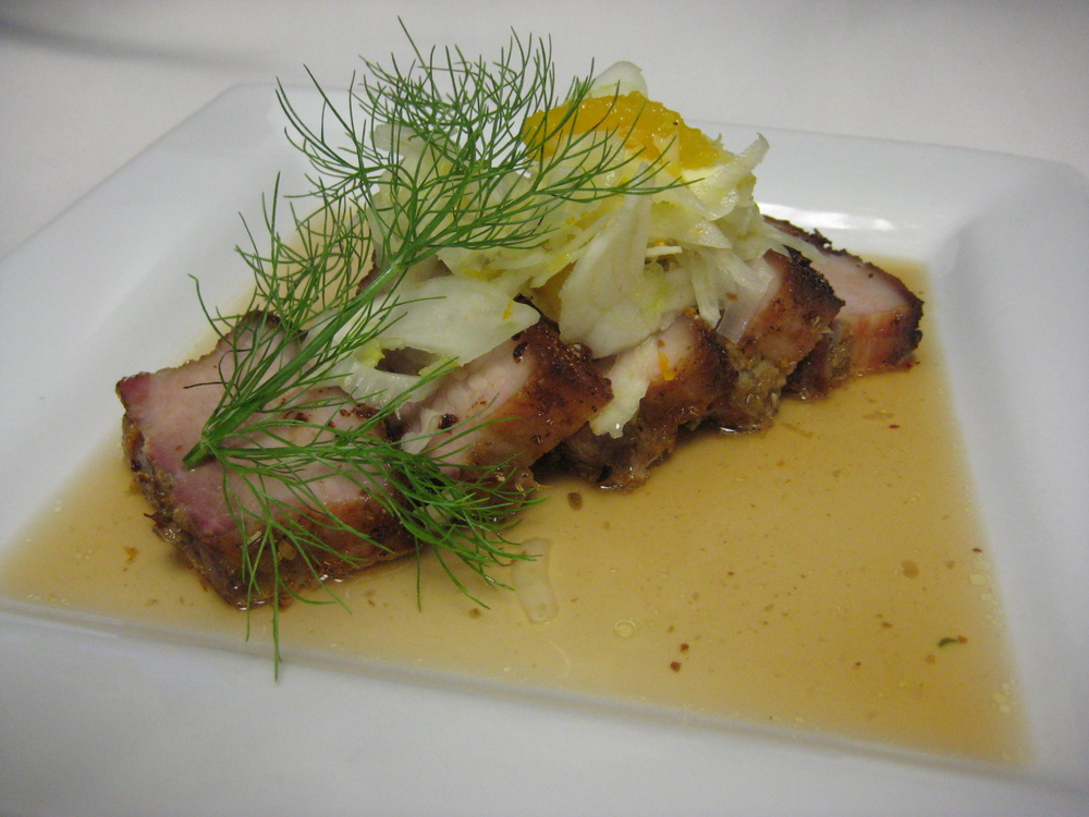 Fourth Course: Garlic and Herb Crusted Pork Belly with Jus and Citrus Fennel Salad