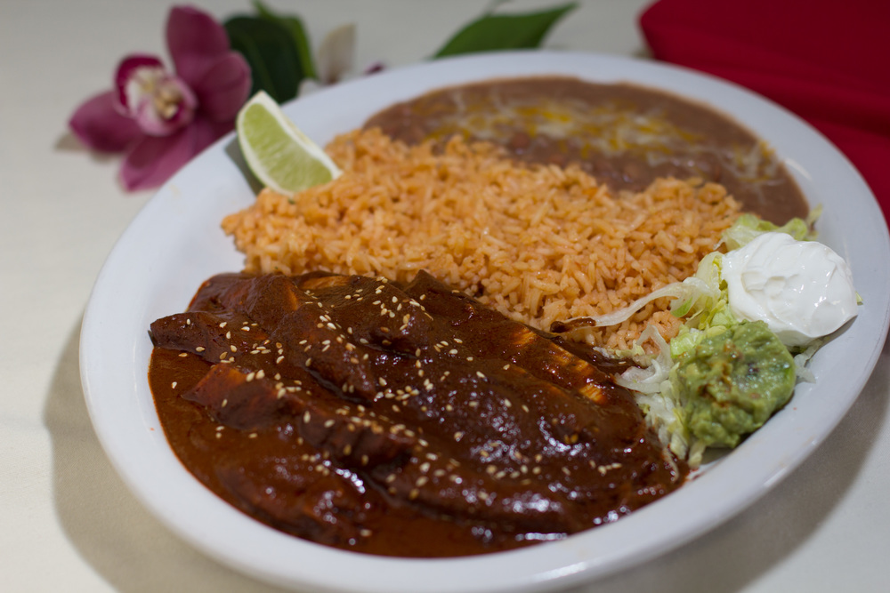 Mole con Pollo - Chicken served in a rich mole sauce
