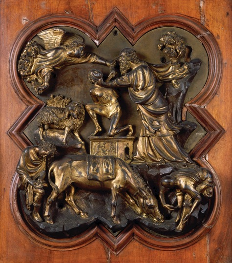 "FILIPPO BRUNELLESCHI, Sacrifice of Isaac, competition panel for east doors, baptistery, Florence, Italy, 1401–1402. Gilded bronze, 1' 9"" x 1' 5"". Museo Nazionale del Bargello, Florence."