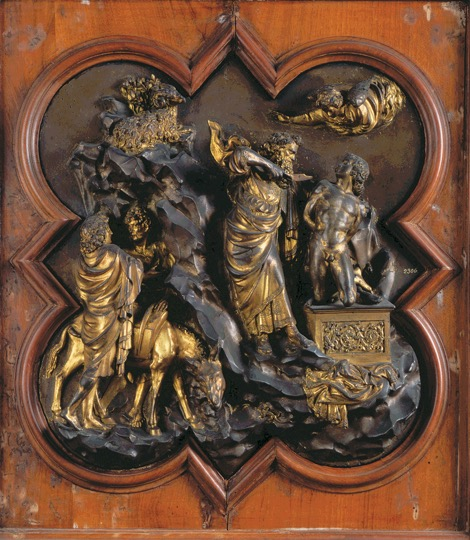 "LORENZO GHIBERTI, Sacrifice of Isaac, competition panel for east doors, baptistery, Florence, Italy, 1401–1402. Gilded bronze relief, 1' 9"" x 1' 5"". Museo Nazionale del Bargello, Florence."