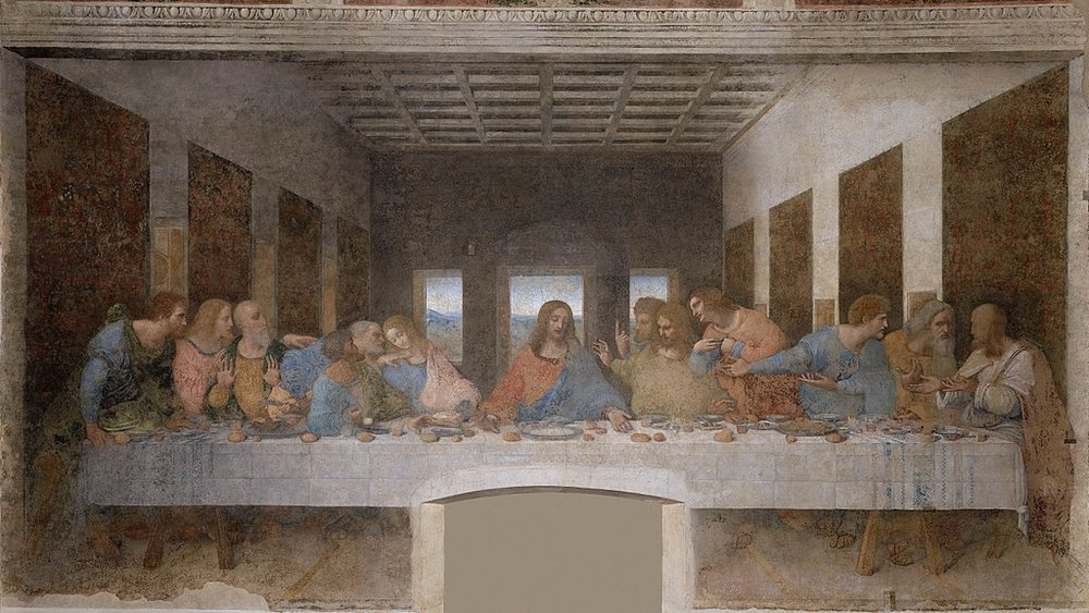 "Leonardo da Vinci,  The Last Supper,  ca. 1495-1498.  Oil and tempera on plaster, 13'9"" x 29' 10"".  Refectory, Santa Maria delle Grazie, Milan"