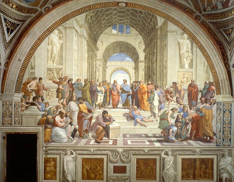 Raphael, Philosophy (School of Athens),  Stanza della Segnatura, Vatican Palace, Rome, Italy, 1509-1511. Fresco, 19'x27'