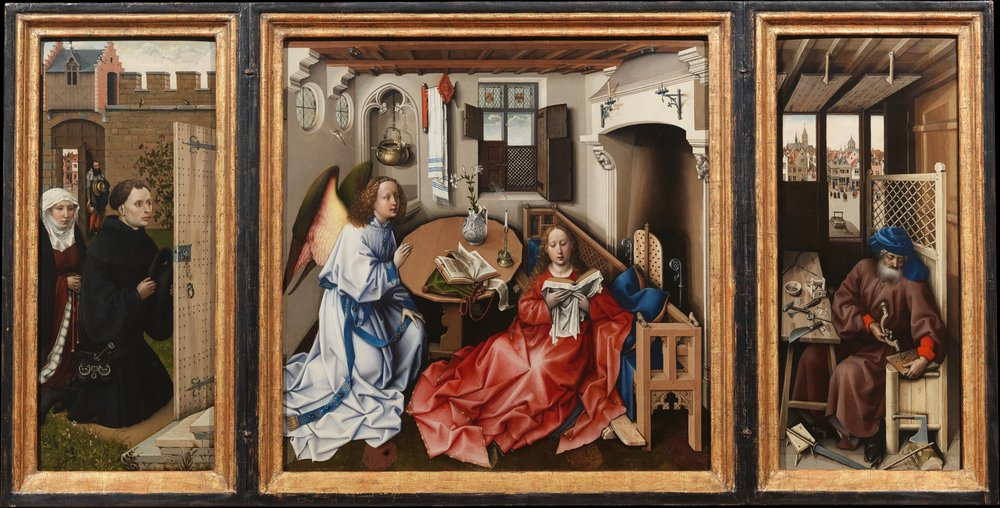 "Robert Campin,  Merode Altarpiece  (open), ca. 1425-1428.  Oil on wood, center panel 2'1 3/8"" x 2' 7/8"", each wing 2' 1 3/8"" x 10 7/8"", Metropolitan Museum of Art, New York"