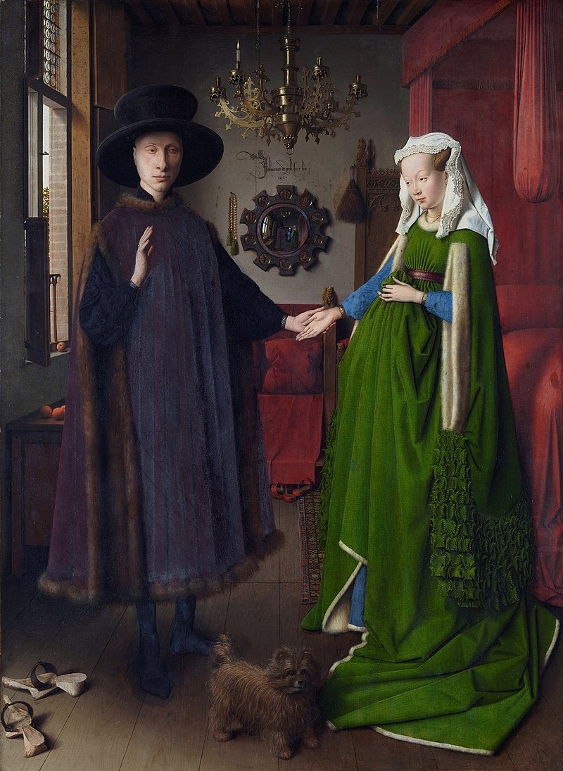 "Jan van Eyck,  Giovanni Arnolfini and His Wife,  1434.  Oil on wood, 2'9"" x 1' 10 1/2"" National Gallery, London"