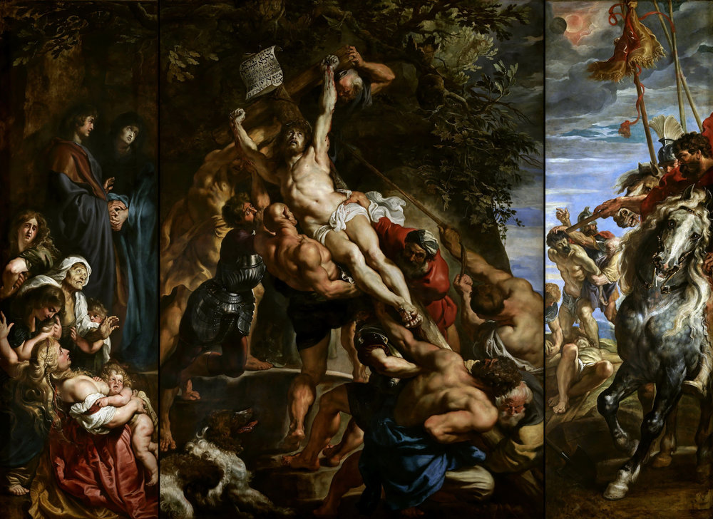 "Peter Paul Rubens,  Elevation of the Cross,  from Saint Walburga, Antwerp, 1610.  Oil on wood, center panel 15' 1 7/8"" x 11' 1 1/2"", each wing 15' 1 7/8"" x 4' 11"".  Antwerp Cathedral, Antwerp."