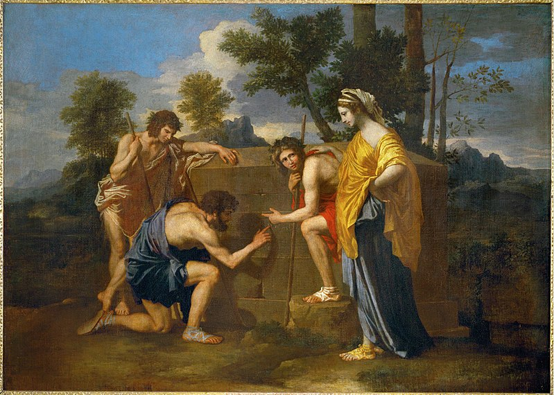 "Nicolas Poussin,  Et in Arcadia Ego,  ca. 1655.  Oil on canvas, 2' 10"" x 4'.  Musee du Louvre, Paris."