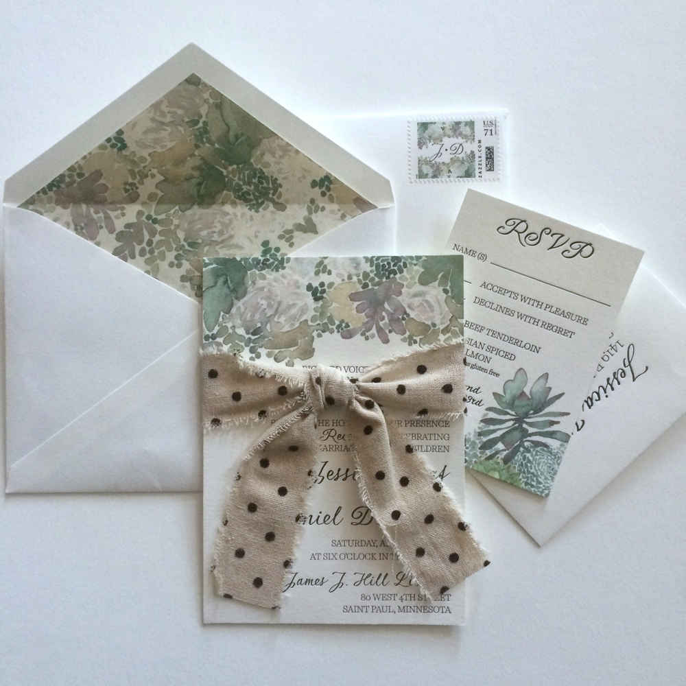 Watercolor floral succulents with letterpress text -  invitation and liner with custom stamp and linen ribbon