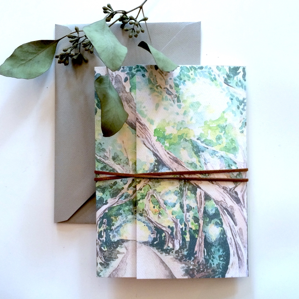 custom watercolor banyan tree wedding invitations destination wedding louelle design studio rochester