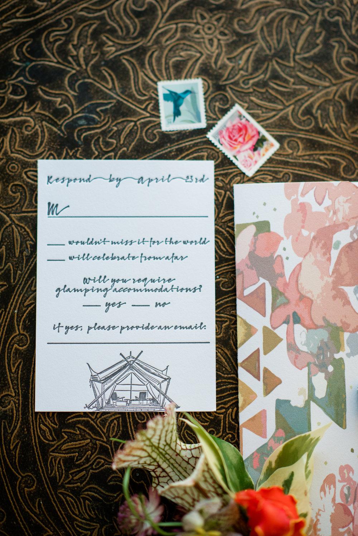 Custom Invitations Letterpress Rochester NY Louelle Design Studio Turquoise Floral Geometric Boho Wedding 2.jpg