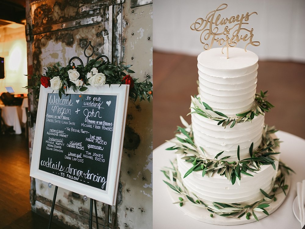 On the left is a garland of Italian ruscus and roses over the welcome sign (photo by Kathy Davies). On the right is a simple, three-tier cake accented with olive branches (photo courtesy of Keren Sarai).