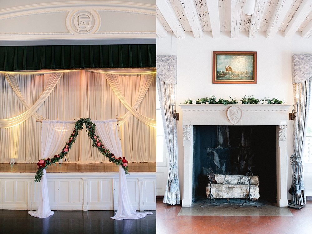 The left is a ceremony arch draped with chiffon fabric and garlands of eucalyptus and roses (photo by Cassie Anna). On the right is a mantle adorned with a simple garland (photo by Roots of Life).