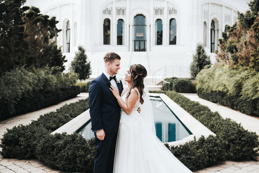Dawn and Mark at Bahá'í House of Worship | Photo by  Oh So Lovely Photography