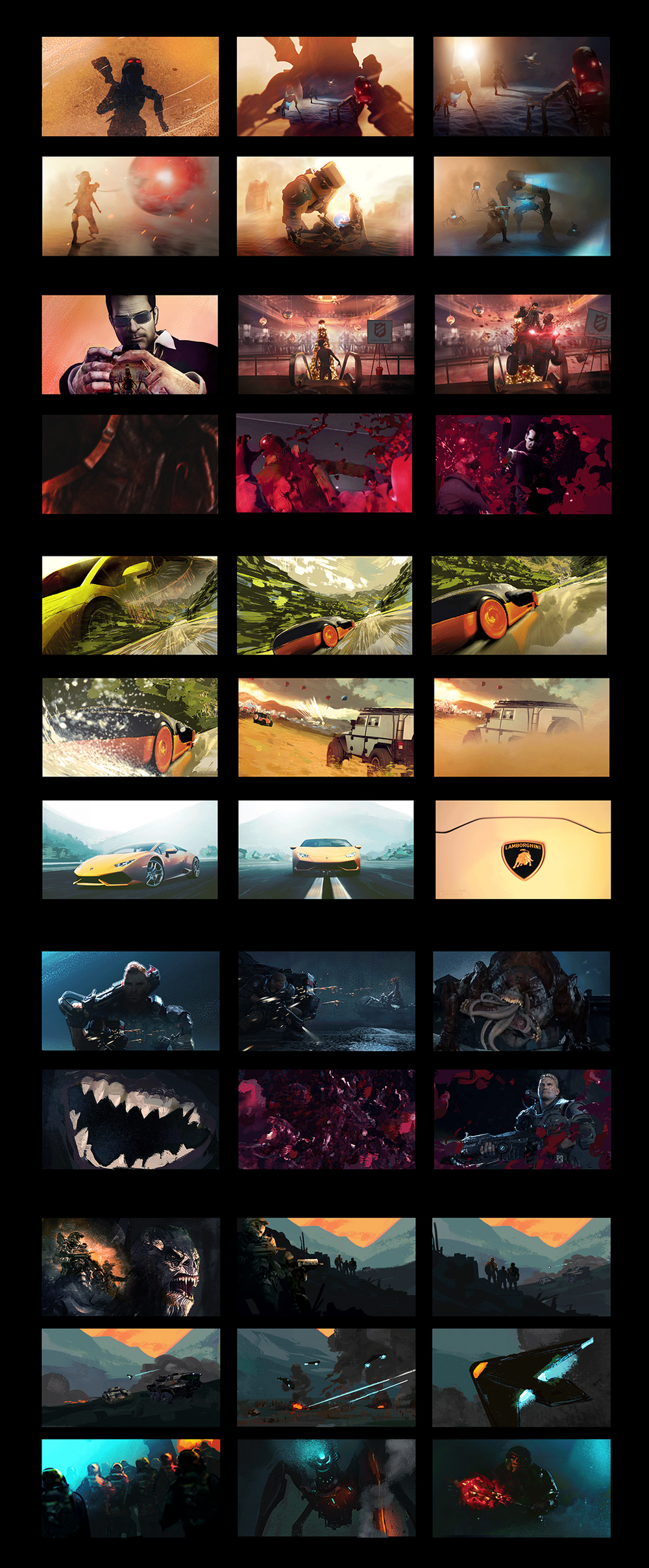 Image: This early storyboard sequence mapped out the action, camera moves, transitions, and colors of each key scene. The goal was to make each game stand out on their own, while finding a dynamic way to weave all of the stories together.