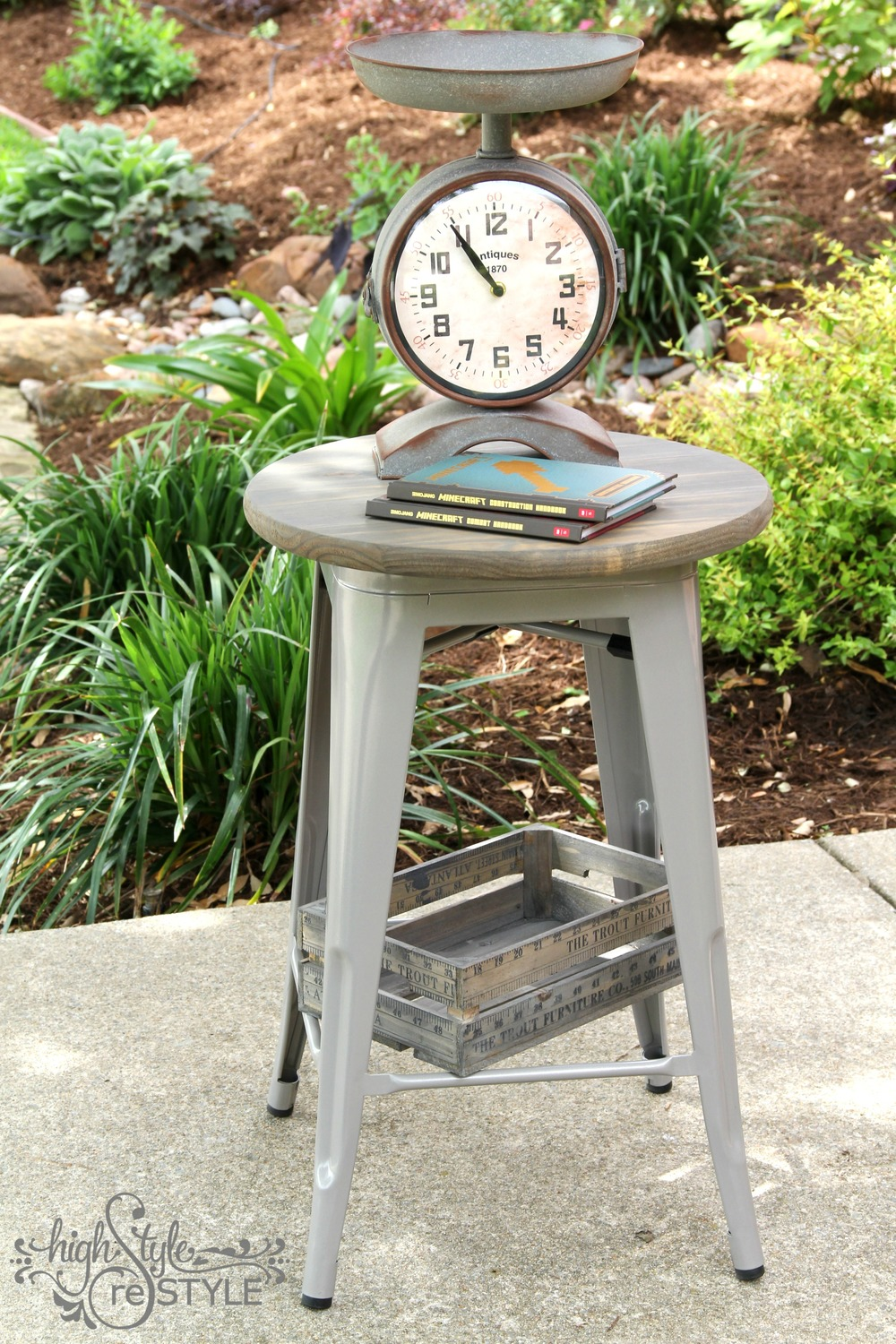 How to turn a bar stool into an industrial side table highstyle using the bar stool as the base made it a great size for a bedside table and the top isnt quite big that my son can store too much clutter on top watchthetrailerfo