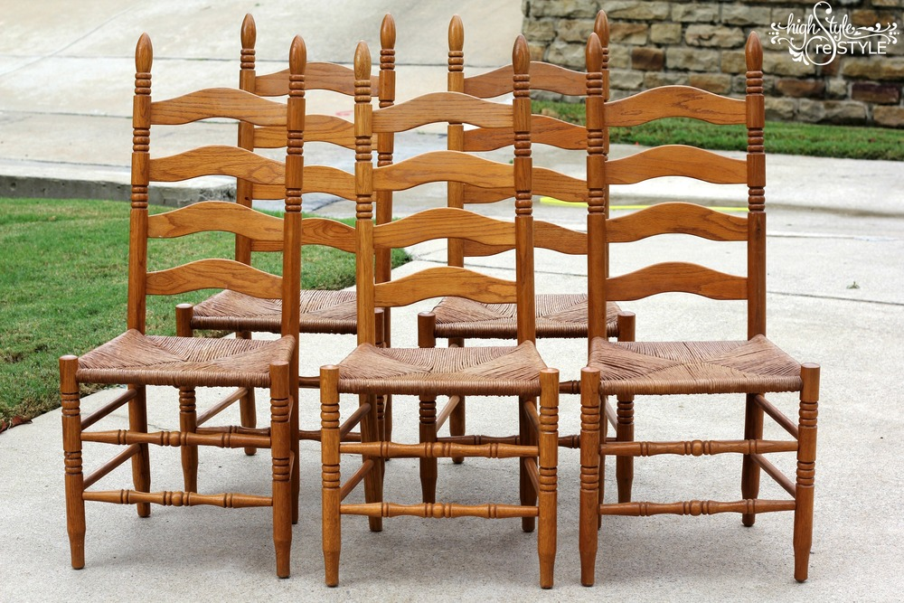 Outdated Oak Ladderback Chair Makeover