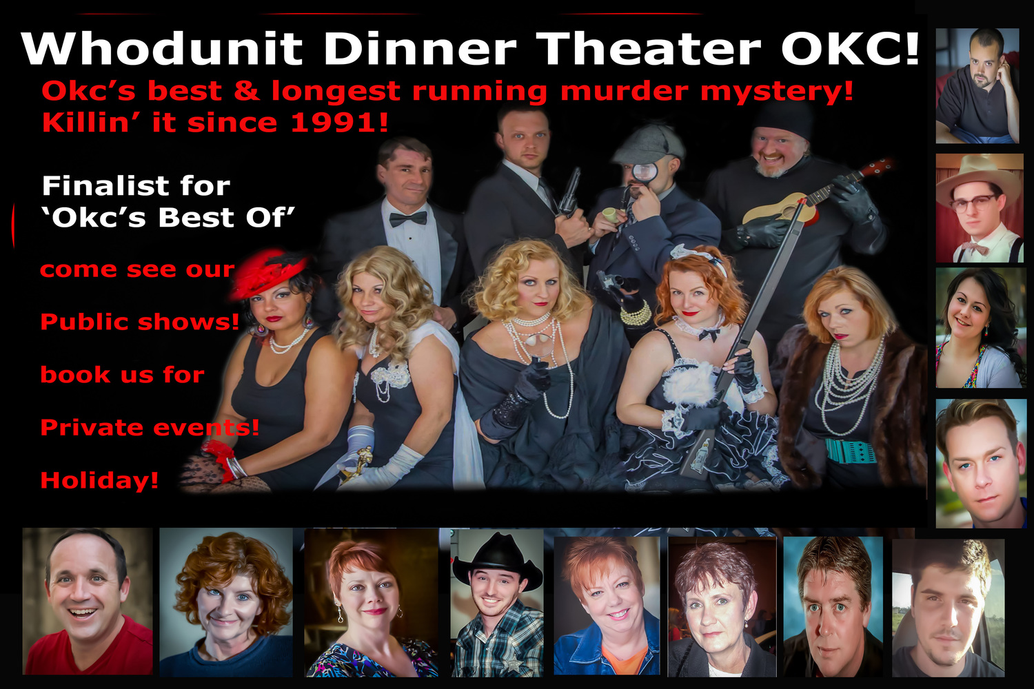 Whodunit Dinner Theater voted OKC's BEST Interactive Comedy Murder Mystery Dinner Theater!