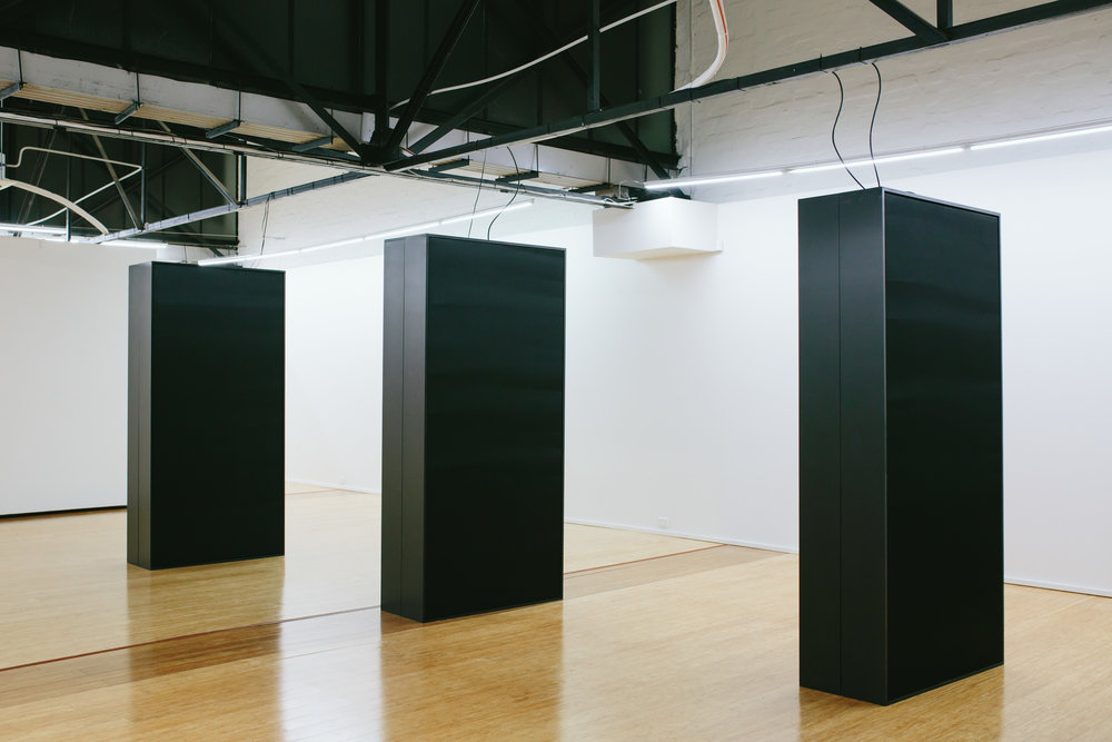Vibrant Matter (black)  sculpture (speakers, amplifiers, wood, silk) Dominik Mersch Gallery, Sydney