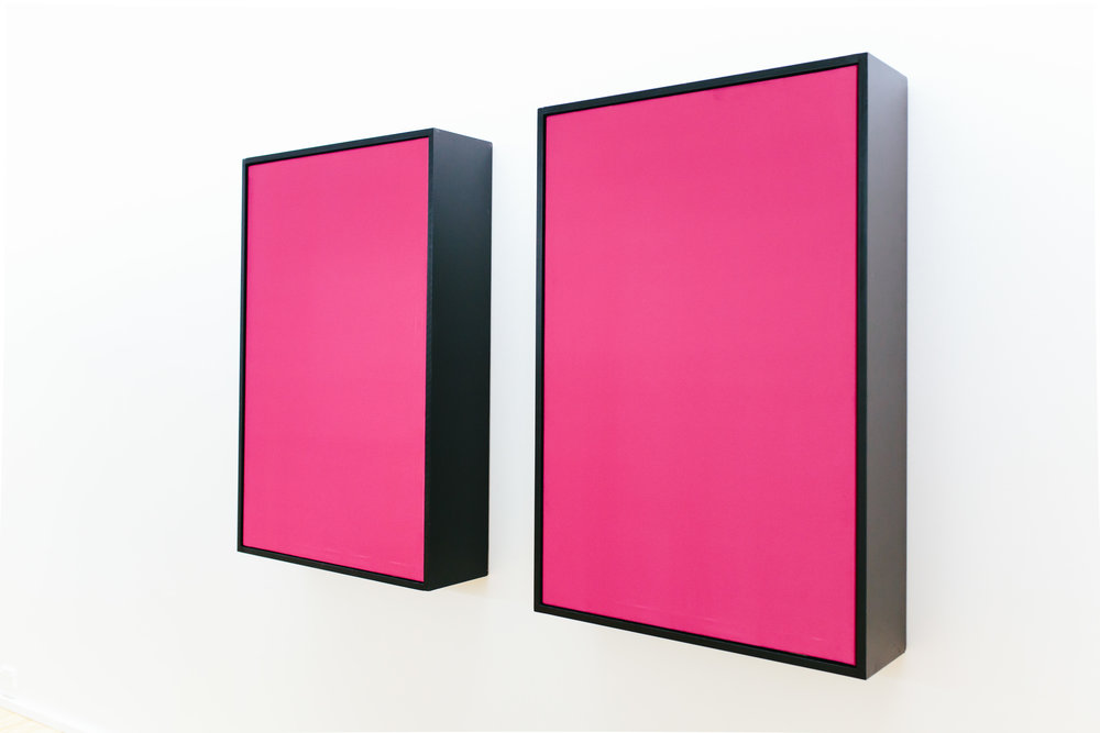 Vibrant Matter (pink)  sculpture (speakers, amplifiers, wood, silk) Dominik Mersch Gallery, Sydney