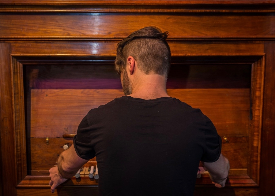 Box Shaped Heart  (2017) performance (chamber organ, bolts) Museum of Old And New Art (MONA), Hobart