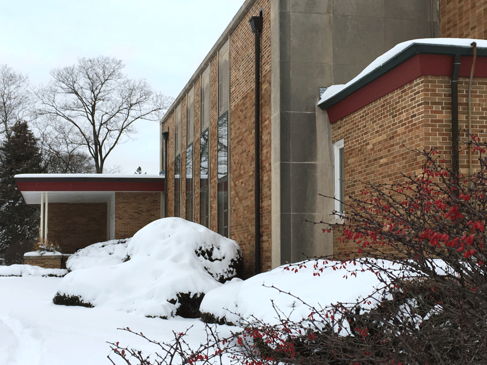 Winterscape with First Church of Christ, Scientist in Glen Ellyn, IL