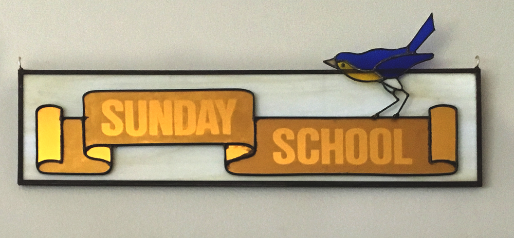 Sunday School sign with Bluebird at First Church of Christ, Scientist in Glen Ellyn, IL