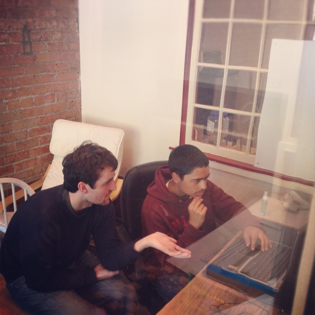 Web dev lesson @ Pusher HQ with Ben and Keshav.