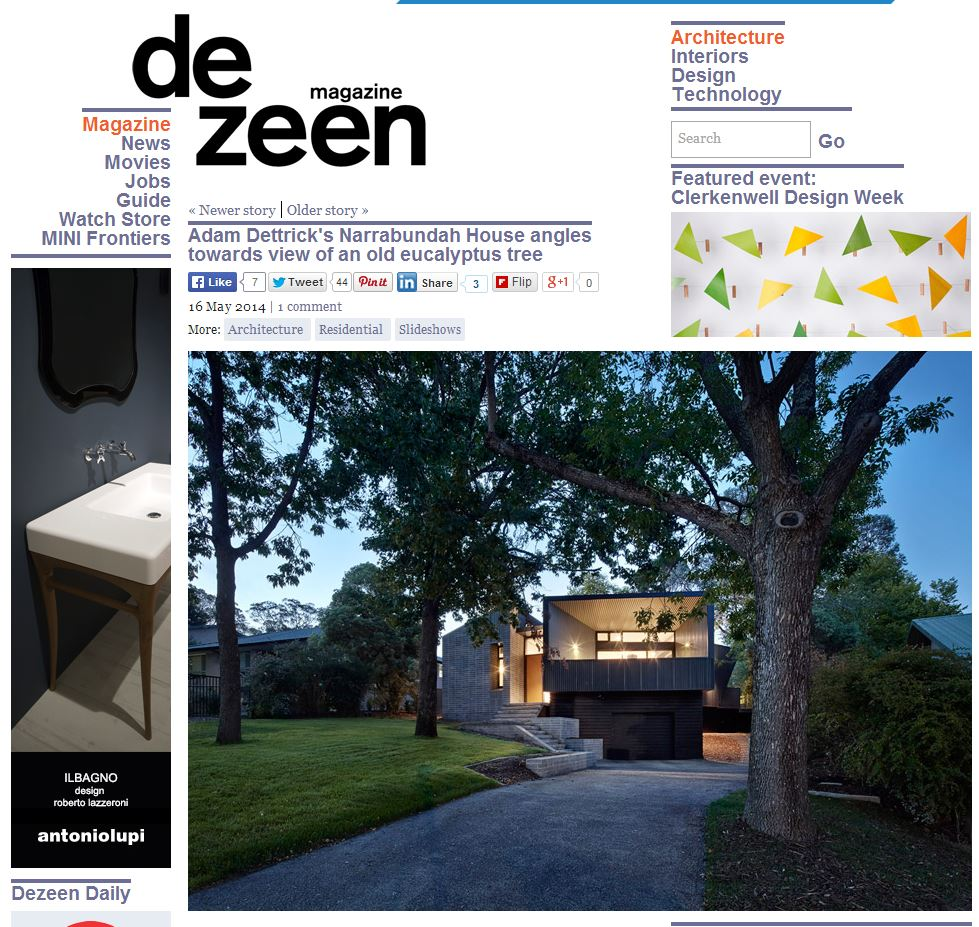 Narrabundah House featured in international design magazine DeZeen:    http://www.dezeen.com/2014/05/16/narrabundah-house-by-adam-dettrick-architects-has-a-terrace-for-the-winter-sun/