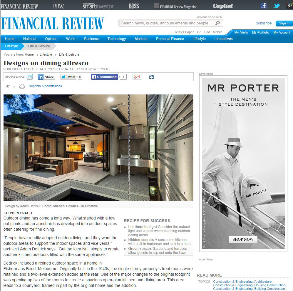 Fisherman's Bend House featured in the Australian Financial Review.