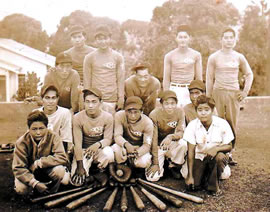 Members of Kahaluu United Methodist Church's  baseball team in 1944 include Sei Serikaku (back  row, second from right) and Saburo Ige (second  row, left).