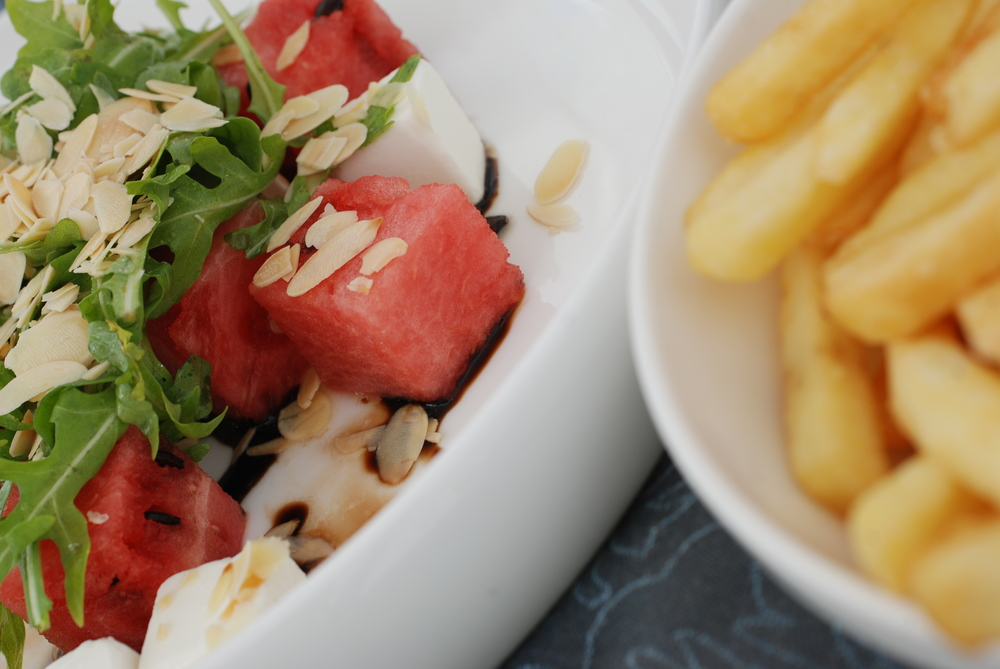 and  a yummo poolside lunch !!! A bit naughty and nice !! Watermelon and feta salad.