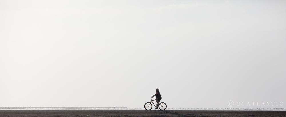 Lone Cyclist. Walvis Bay lagoon