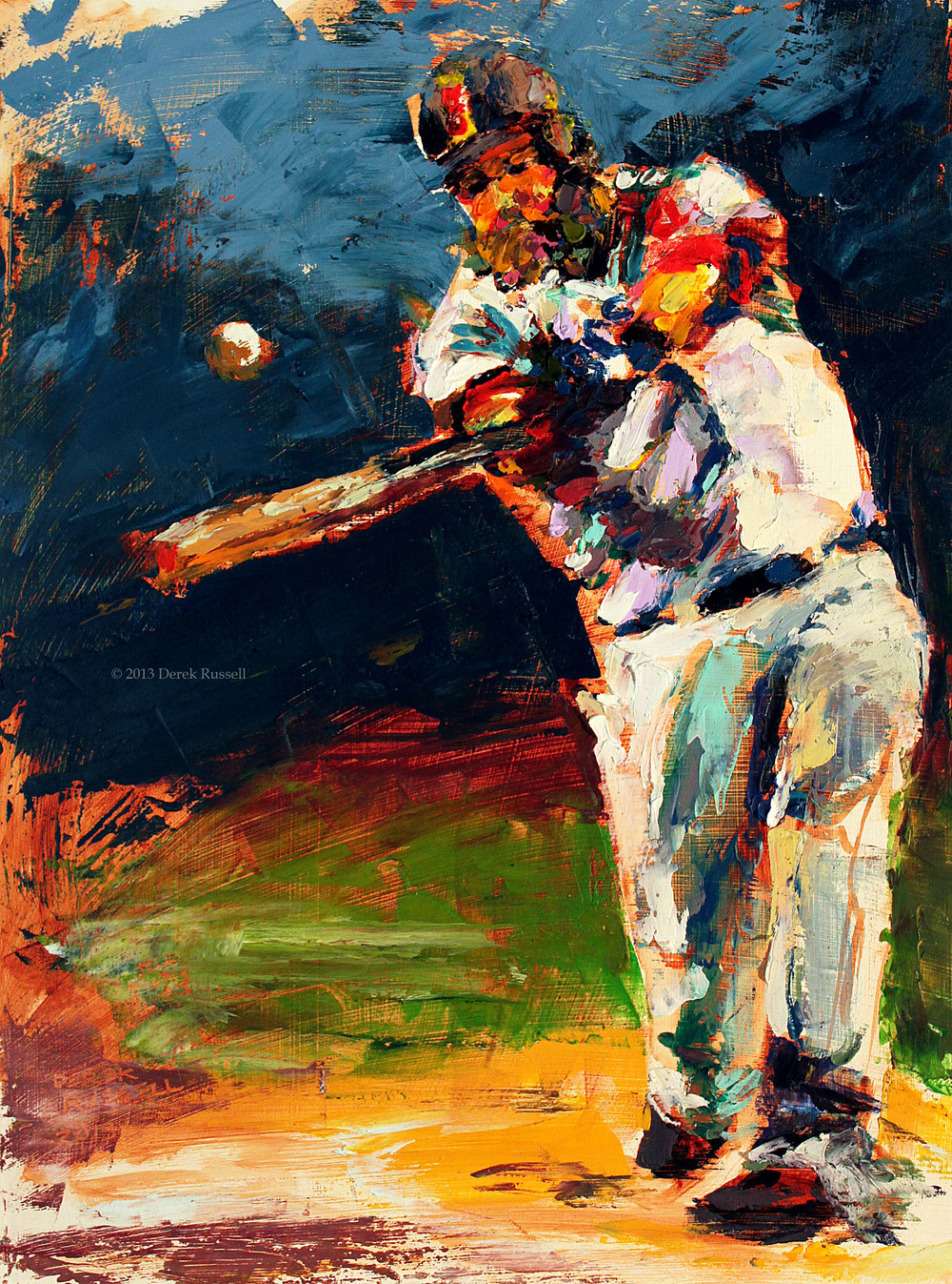 Mike Napoil Original Fine Art Oil Painting of Boston Red Sox by Artist Derek Russell