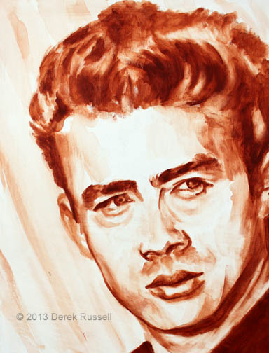 James Dean Original Fine Art Acrylic Painting by Artist Derek Russell