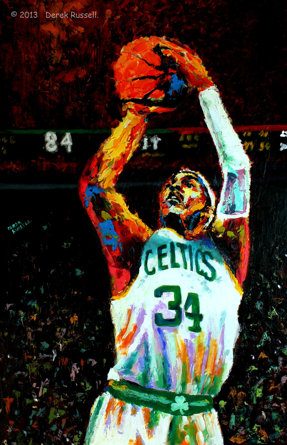 Paul Pierce Original Celtics Fine Art Oil Painting by Celebrity & Corporate Artist Derek Russell
