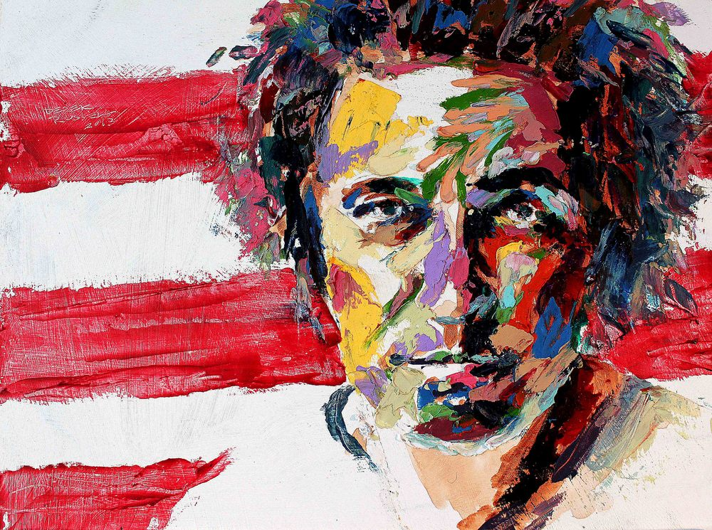 Bruce Springsteen Original Fine Art Oil Painting by Celebrity & Corporate Artist Derek Russell