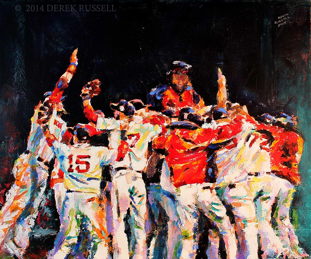 2013 Boston Red Sox World Series Champs Celebration Original Oil Painting by Celebrity & Corporate Artist Derek Russell