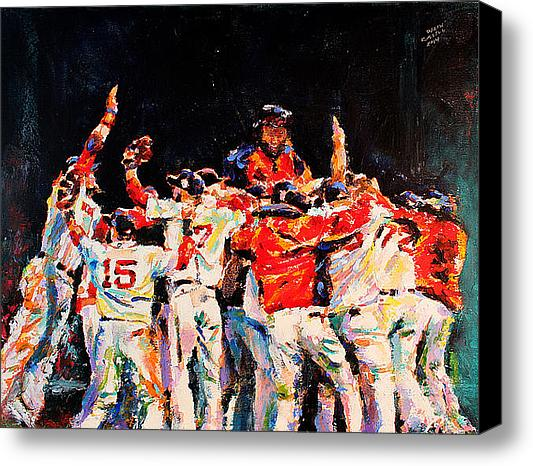 2013 Boston Red Sox World Series Champs Celebration Original Fine Art Oil Painting by Celebrity & Corporate Artist Derek Russell