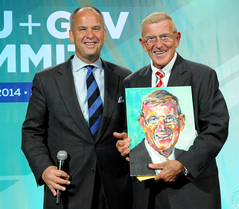 Photo Courtesy of GSV & Brandlift. GSV CEO Michael Moe with Legendary Notre Dame Football Coach Lou Holtz